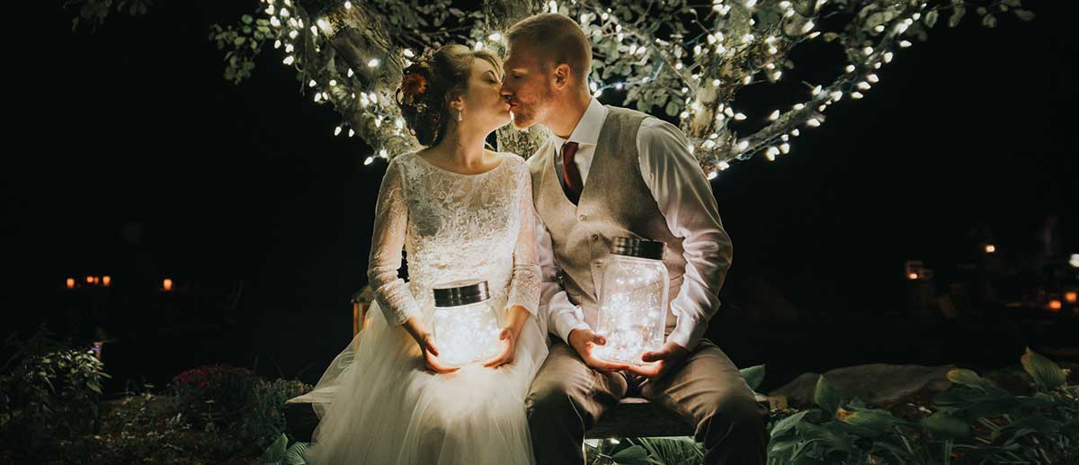 wedding fireflies and a kiss